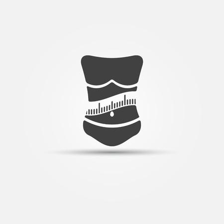 slim women: Icono de la p�rdida de peso - mujer con la medici�n de la aptitud cinta logo o s�mbolo Vectores