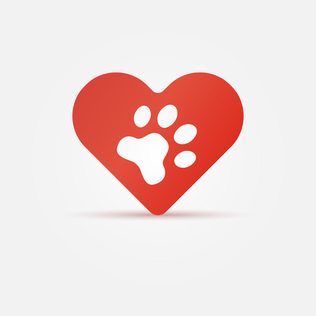 Pet paw in red heart, animal love icon - vector animal paw in heart symbol