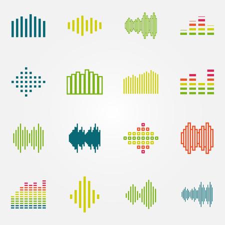 明るい音楽サウンド ウェーブやイコライザーのアイコンを設定