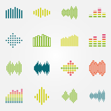 and sound: Ondas de sonido de la m�sica brillante o ecualizador iconos conjunto