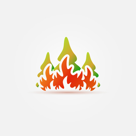 conflagration: Burning forest trees in fire flames icon Illustration