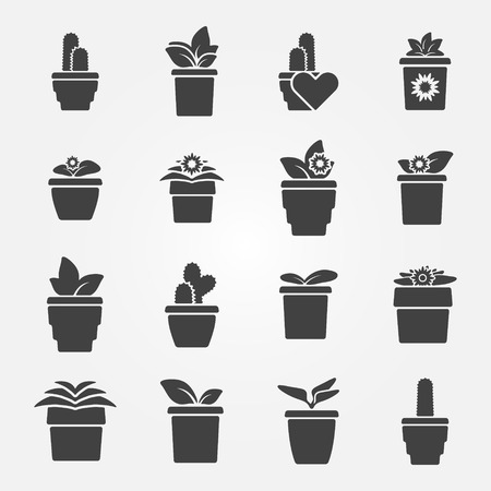Houseplant icons set black flower symbols Vector