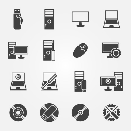 Computer repair service and maintenance icon set - vector symbols