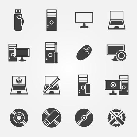 Computer repair service and maintenance icon set - vector symbols