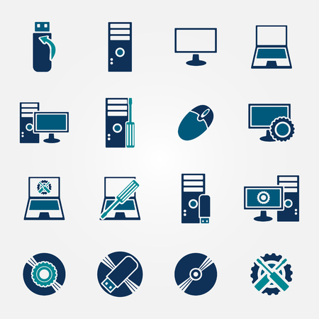 Flat computer repair icons set - vector blue symbols Vector