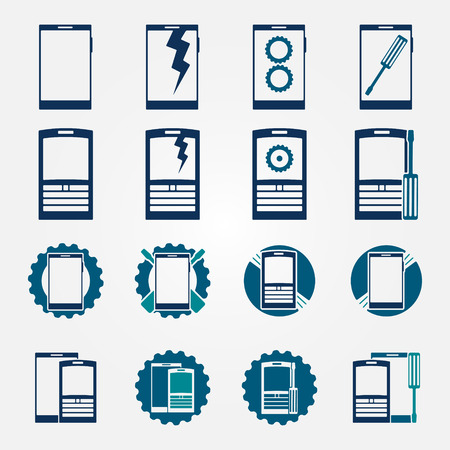 Mobile phone repair icons set vector blue modern phone service symbols  Vector