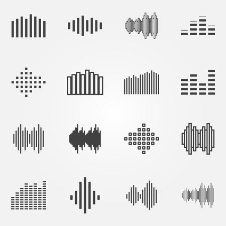 soundwave: Music soundwave or equalizer icons set