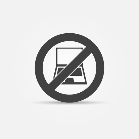 use regulation: No computers vector sign - laptop or notebook restrictive black icon Illustration