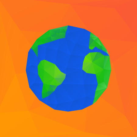 simplified: Bright polygonal vector illustration of earth planet