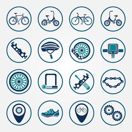 biking glove: Vector biking icon set - flat bicycle symbols