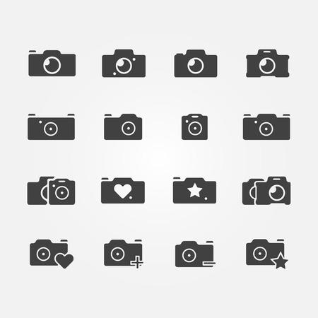 lomo: Camera icons set - black vector camera symbols Illustration