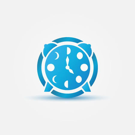 moon phases: Moon phases alarm clock icon - vector blue logo concept