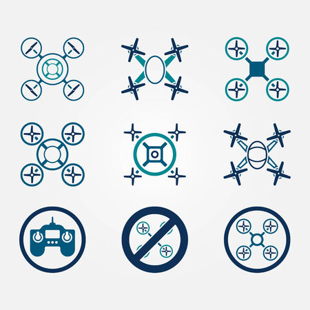 Quadrocopter vector flat icons set -  drone symbols on gray background Vector