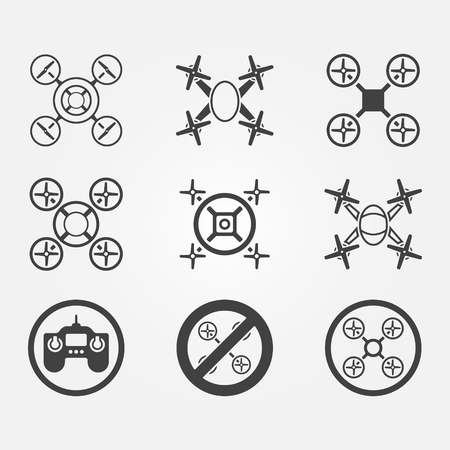 unmanned: Quadrocopter vector icons set - black drone symbols on gray background