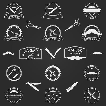 Vector set of barber shop logo, labels, badges and elements for your design on dark background Illustration