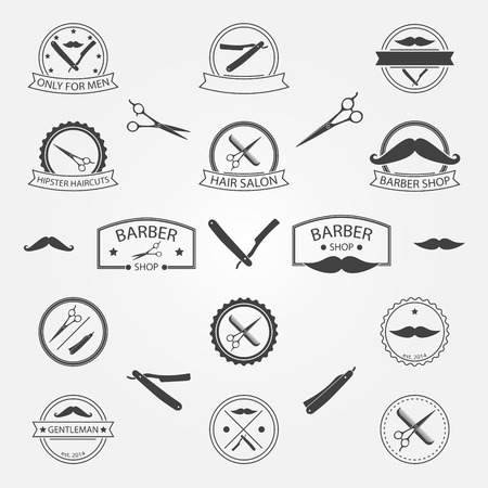 Vector conjunto de barbería logotipo, etiquetas, escudos y elementos para su diseño Foto de archivo - 34681599