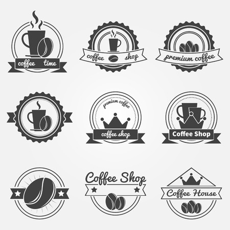 Set of coffee shop logos or vintage vector labels - coffee decoration collection of badges with ribbons Illustration