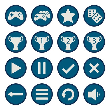 Blue flat game icons vector set - game ui symbols Vector