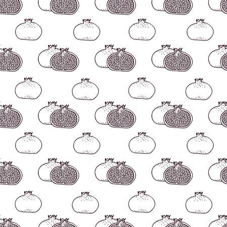 garnet: Garnet fruits vector seamless pattern - pomegranates minimal texture