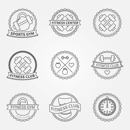 Sports and fitness icon emblem graphics set - vector black bodybuilder labels and athletic badges Vector