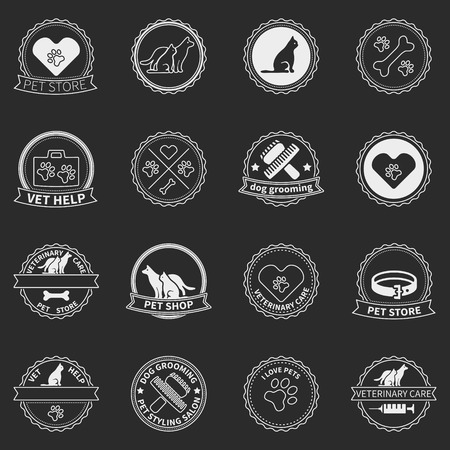 Set of dog ans cats icons and badges - vector pet shop or vet care and grooming labels