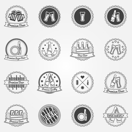 Beer labels or badges set - black vector alcohol beer elements, icons for your design Vector