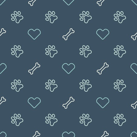 Vector animal seamless pattern of paw footprint, bone and heart - endless texture in dog or cat style