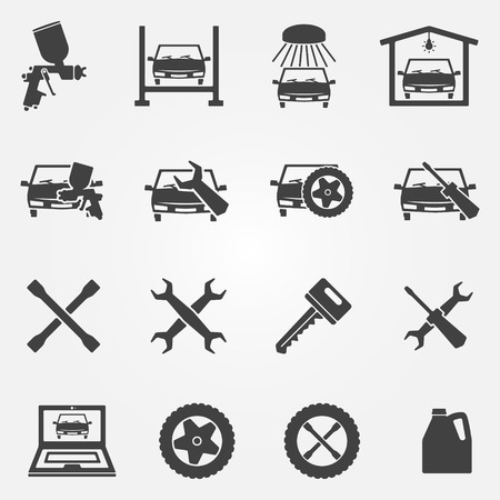 Auto service and repair icon set - vector car fix and car paint  Vector