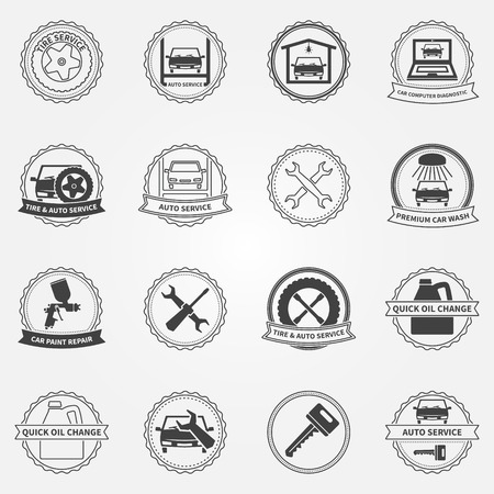 Car service symbols and badges, vector set of car fix and paint  Vector
