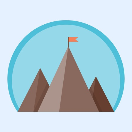 Flat mountain peak with flag - vector illustration of a goal achievement, success or victory Vectores