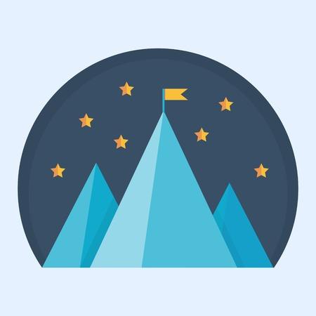 superacion personal: Pico de la monta�a azul con la bandera - ilustraci�n vectorial de un logro de la meta, el �xito o la victoria