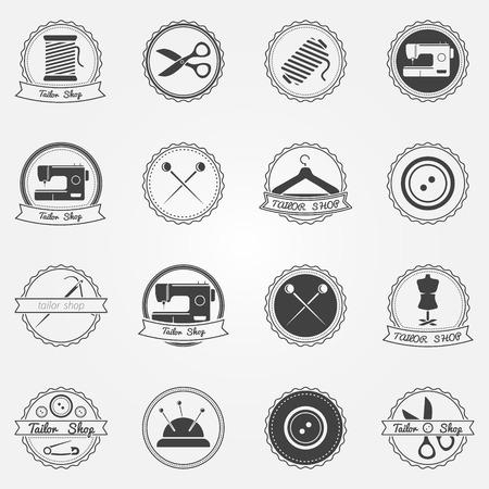 máquina de coser: Elementos e insignias sastrería - vector conjunto de etiquetas de coser en diseño retro Vectores