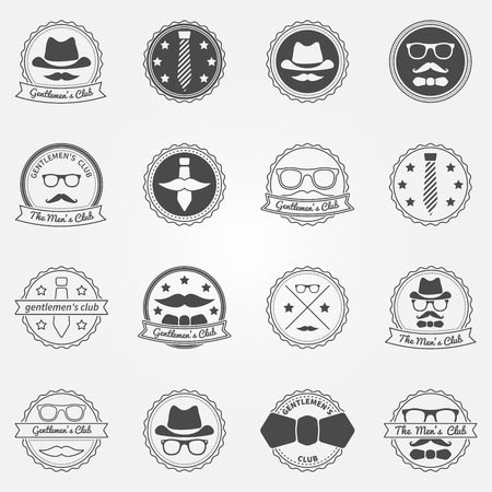 Gentlemens club emblems - vector set of mens club or hipster badges and logos Vector