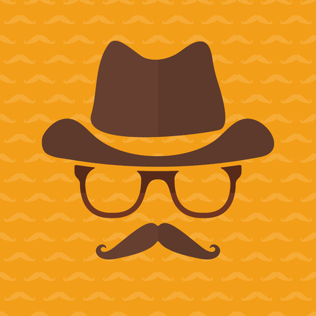mode retro: Hipster face silhouette in flat style - vector retro fashion icon or avatar on yellow background made with mustache Stock Illustratie