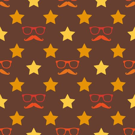 Vector hipster moustache and spectacles seamless pattern - retro brown texture Vector