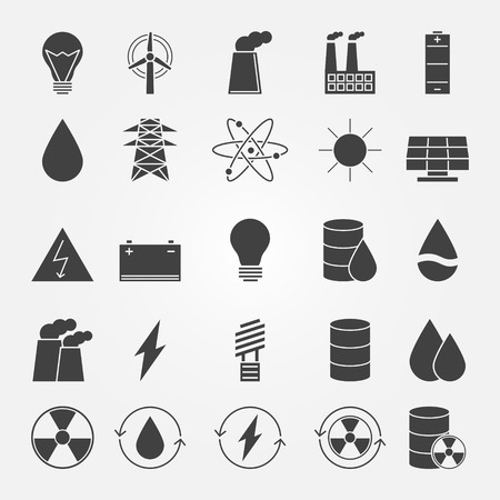 Energy industry icon set - vector black power symbols Vector