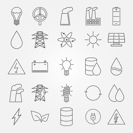 environment: Energy and industrial icon set - vector thin line symbols of power or renewable energy technologies