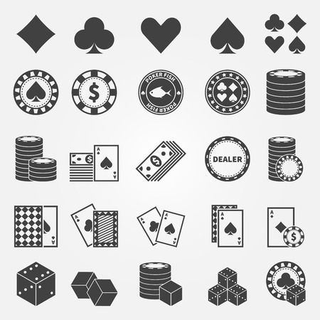Poker icons set - vector playing cards or gambling casino symbols Vettoriali