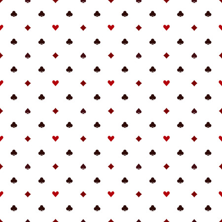 Seamless poker pattern with card suits - vector casino texture Ilustração