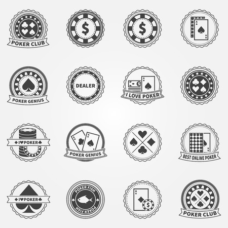 poker chips: Poker Labels and Icons set - vintage vector holdem badges or logos