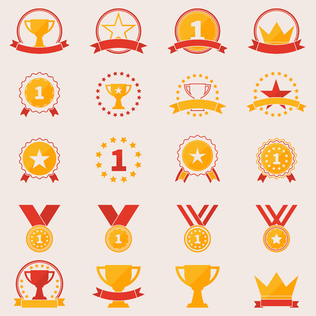 Set of awards and victory icons - vector flat trophy winner symbols