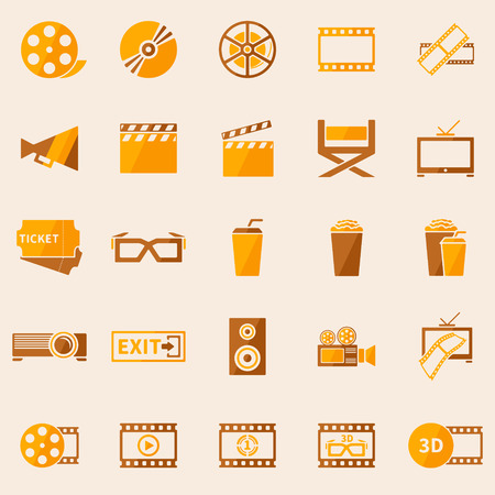 Cinema or movie icons set - vector symbol collection in retro colors Vector