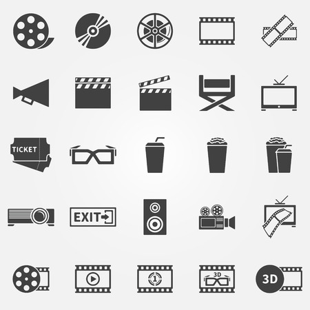 Movie or cinema icons - vector cinematography black symbols Vector