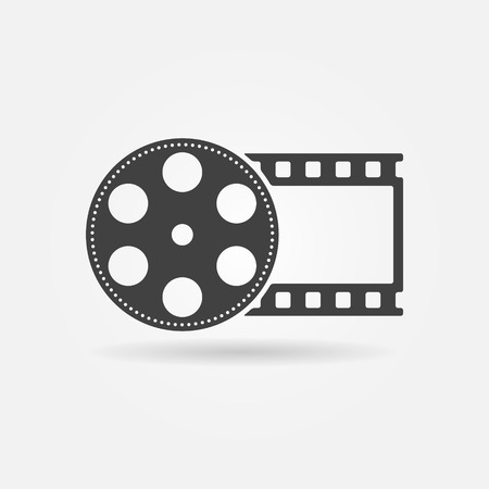 movie camera: Film roll logo - vector black cinema and movie design element or icon