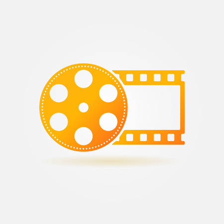 Gold cinema or movie icon - vector film roll icon for your design