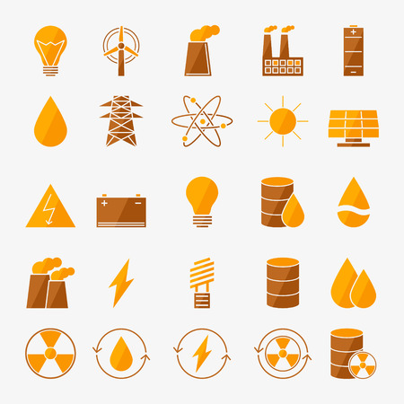 Energy icon set - vector yellow power symbols in flat style Illustration