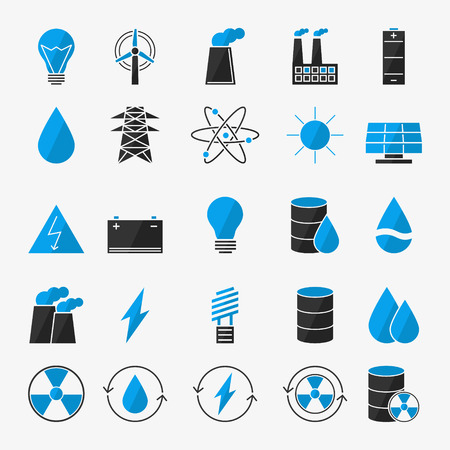 Vector energy icon set - black and blue electricity symbols in flat style