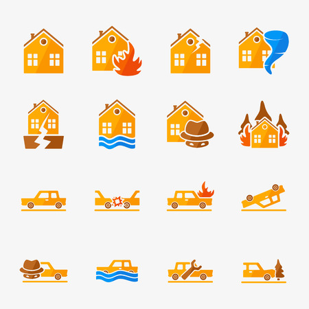 fire damage: Insurance vector icons set - property and car insurance symbols or logos