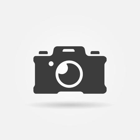 Photo camera icon or logo - vector black photography symbol Illustration
