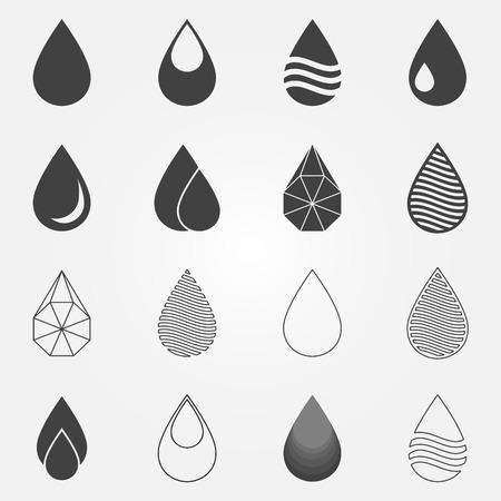 Water drops icons set - vector black water symbols or logos